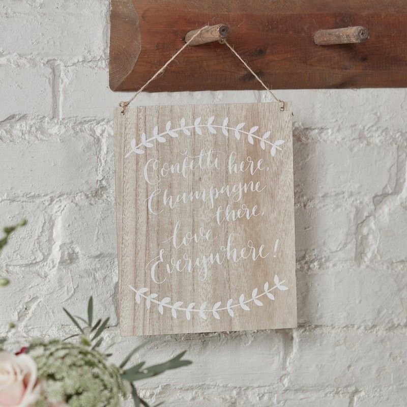 'Confetti, Champagne, Love' Wooden Sign