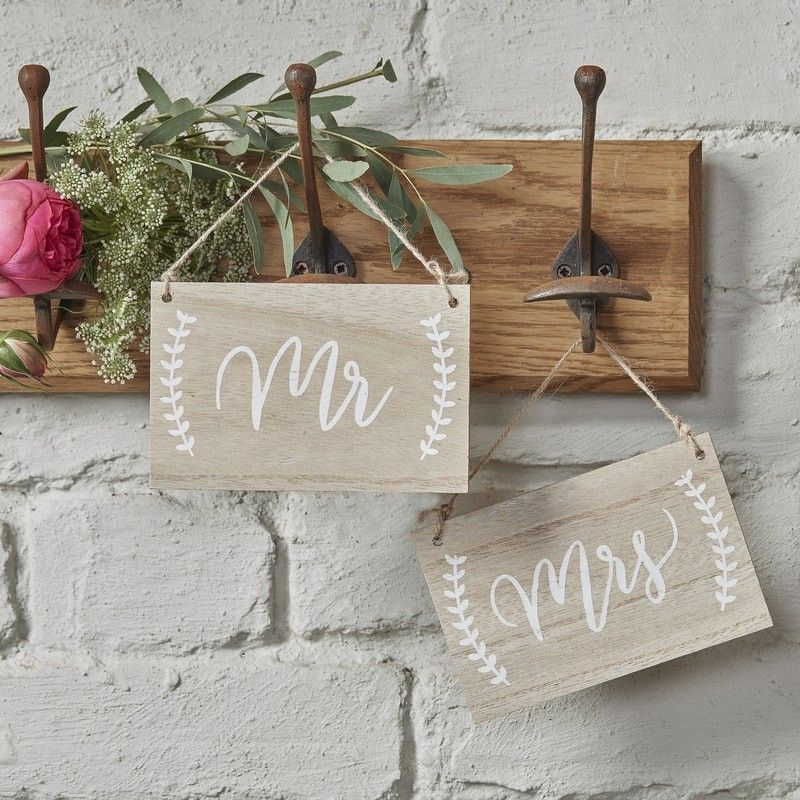 Mr &Mrs Wooden Chair Signs - Boho