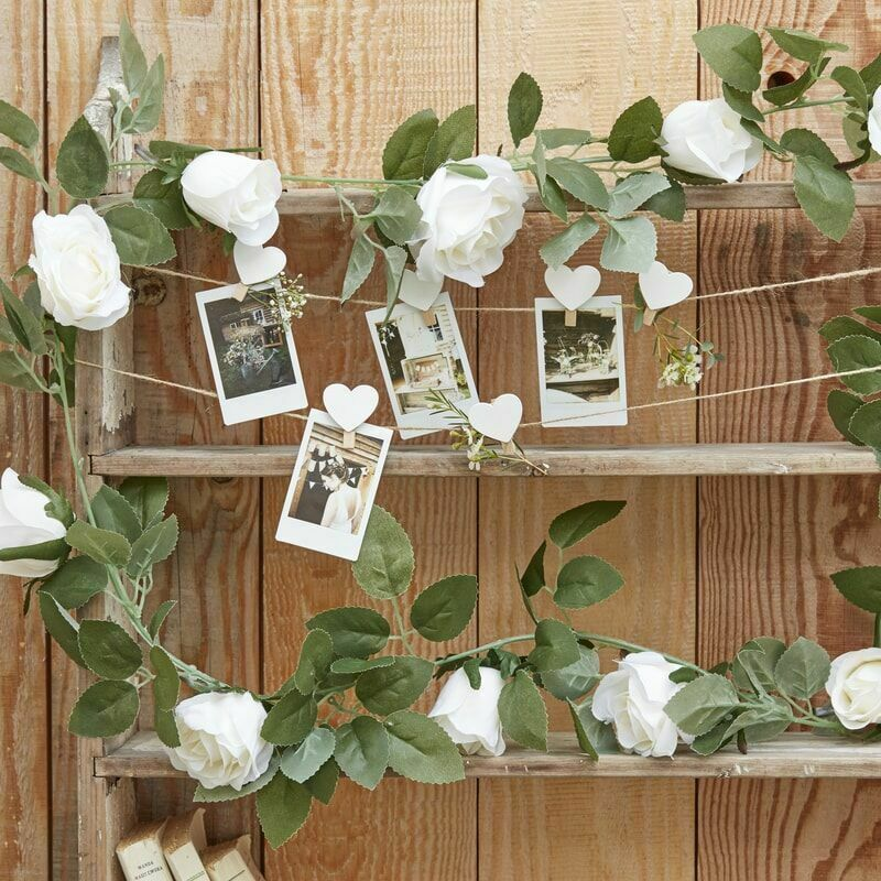 White Rose Artificial Garland 2m